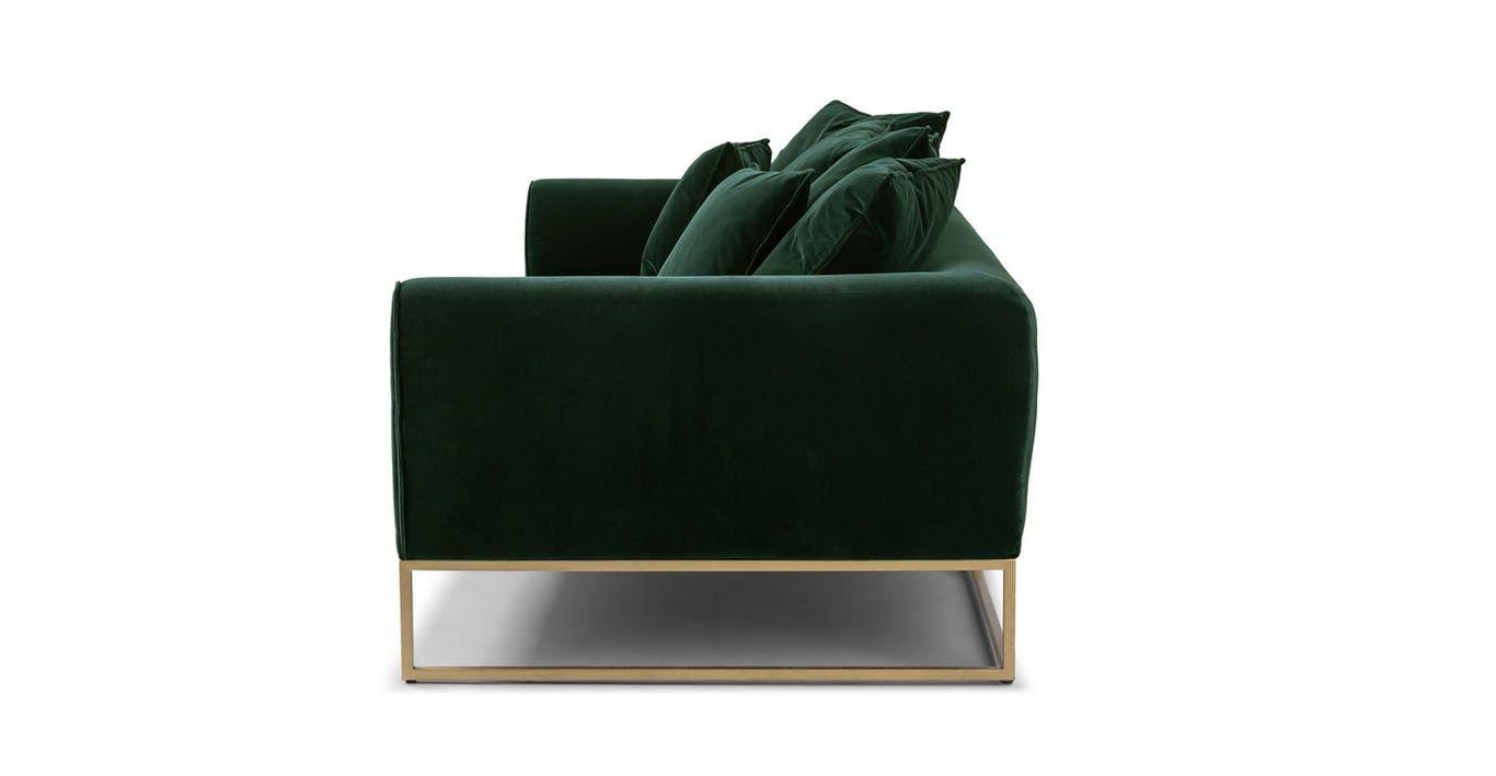 Green velvet sofa upholstered article kits modern furniture in