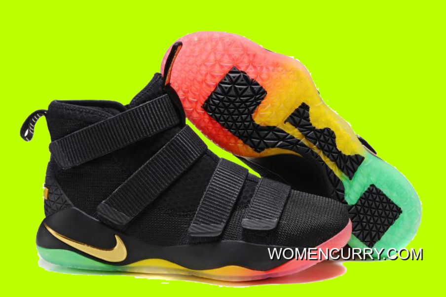 Now Buy Nike LeBron Soldier 11 BlackGold MutiColor Sale Cheap To Buy Save Up From Outlet Store at Pumafenty