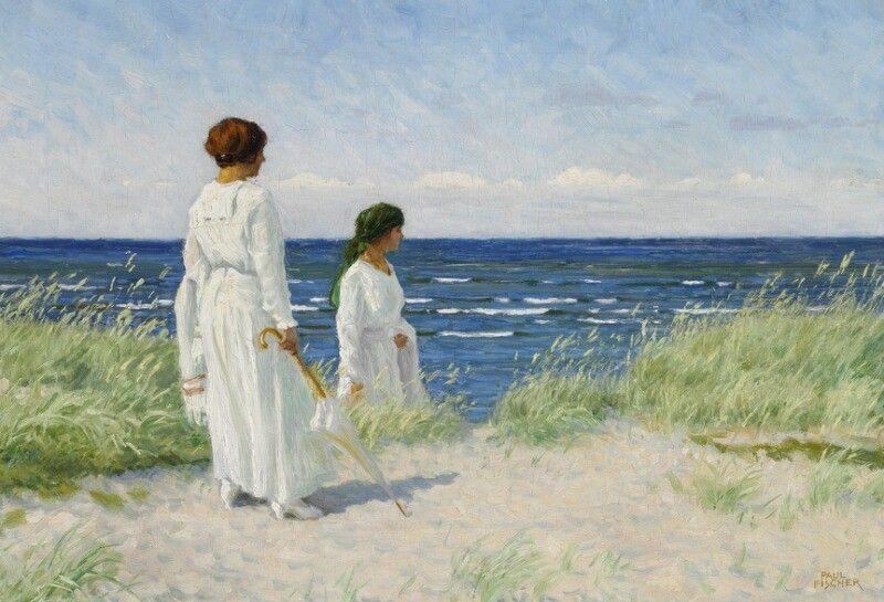 Paul Fischer To unge piger i lyse sommerkjoler på stranden i Hornbæk 37x54cm