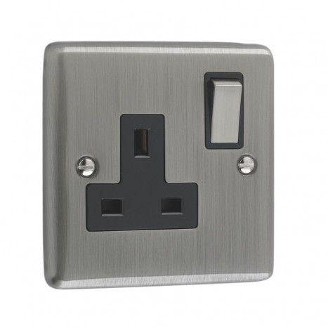 13a 1 Gang Single Switched Double Pole Brushed Chrome Uk Plug Socket Black Trim From Litecraft With Images Sockets Plug Socket Plugs