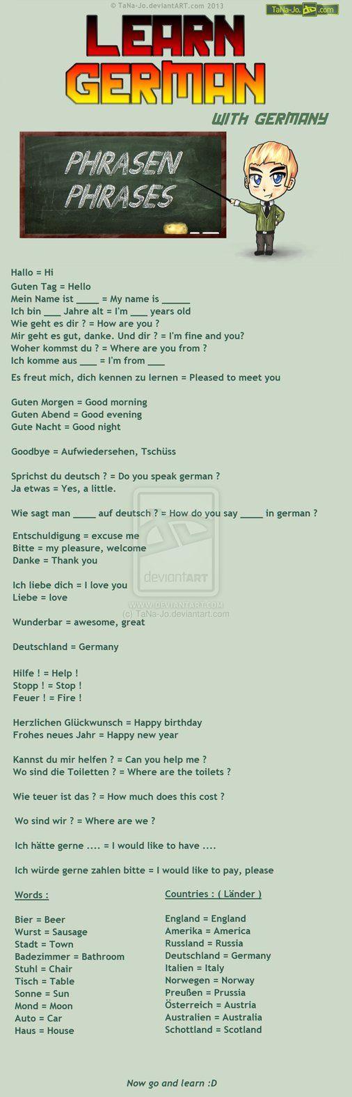 Learn German Phrases German Phrases Learn German German Language