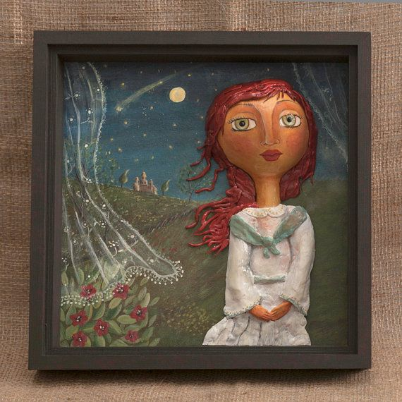 The small princess in the night Wall hanging dry by MariasPaint, €65.00