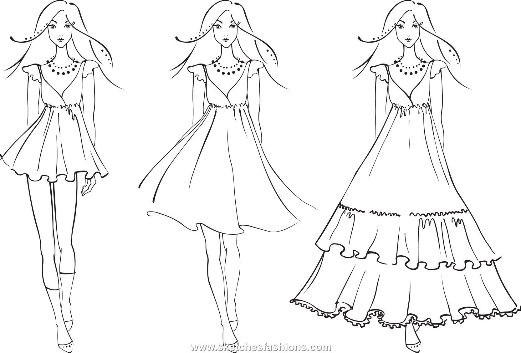 Fashion Design Sketches Of Dresses 2013 Viewing Gallery Fashion Design Sketches Fashion Design Coloring Book Colorful Fashion