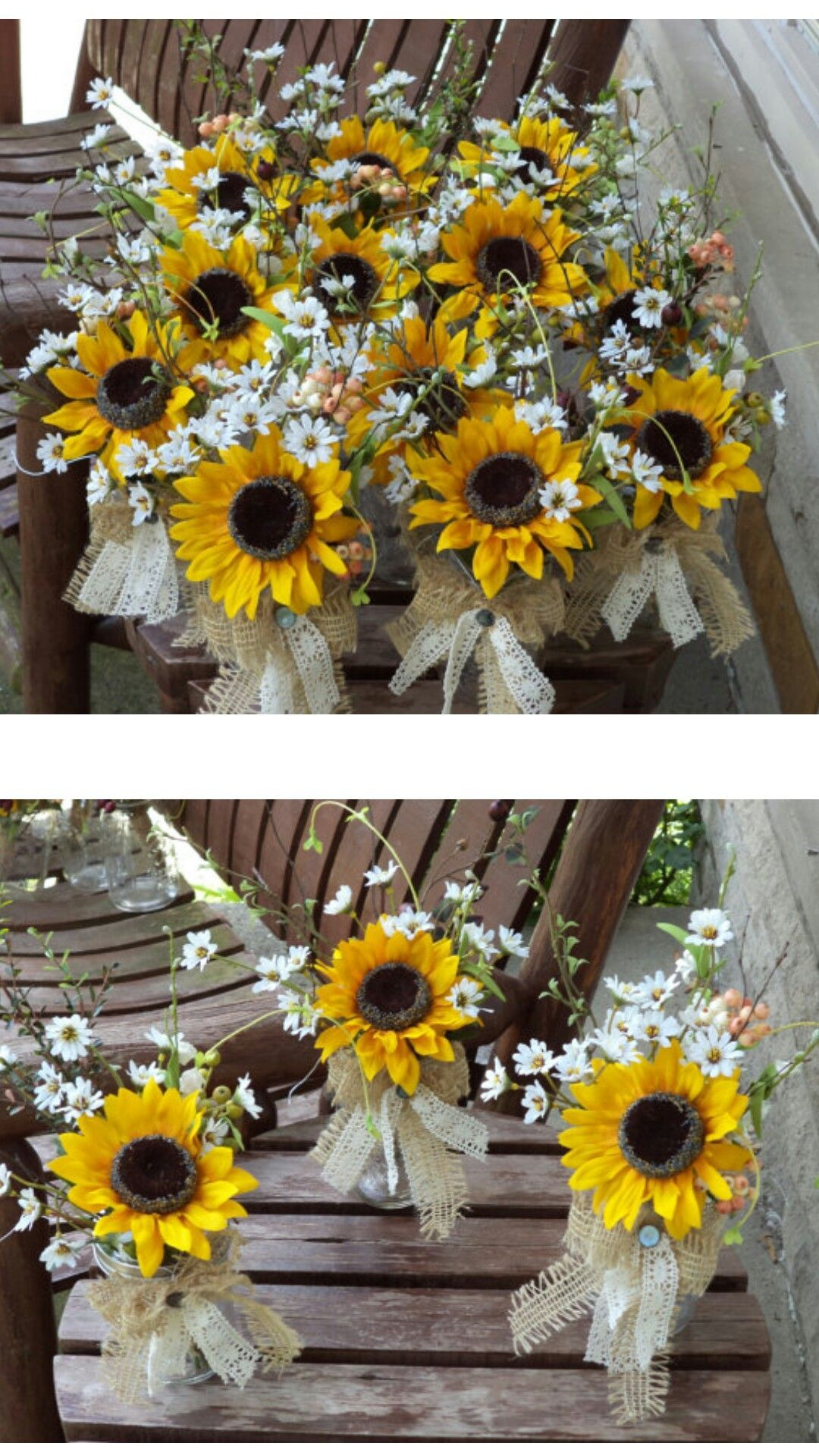 Rustic Sunflower Burlap And Lace Small Table Arrangements Country Wedding Flowers Decor Special Occasions 12 Pcs Ad