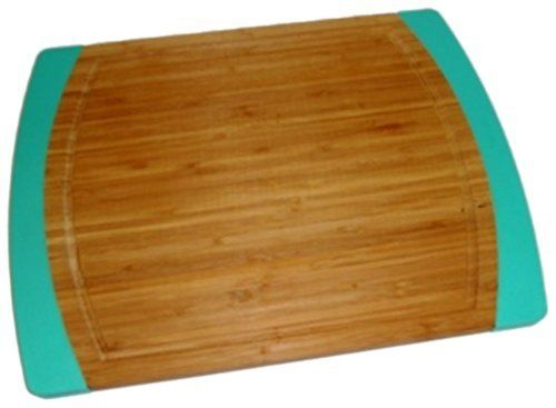 Lipper International Large Non-Slip Cutting Board with Silicone Edges, Blue by Lipper International, Inc.. $16.76. Coordinates with other Lipper International Collection Accessories. Made of bamboo wood which is a naturally replenishing grass and one of the world's most renewable resources. Dimensions: 15 3/4-inchw x 11 7/8-inchd x 5/8-inchh. Easy to wash, mild soap and water. dry thouroughly. Cutting board has silicone edges so that it will not slip. Lipper International has ...