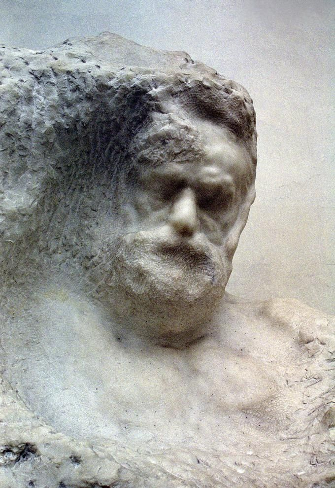 Portrait of Victor Hugo, sculpted into the marble ~ by Auguste Rodin