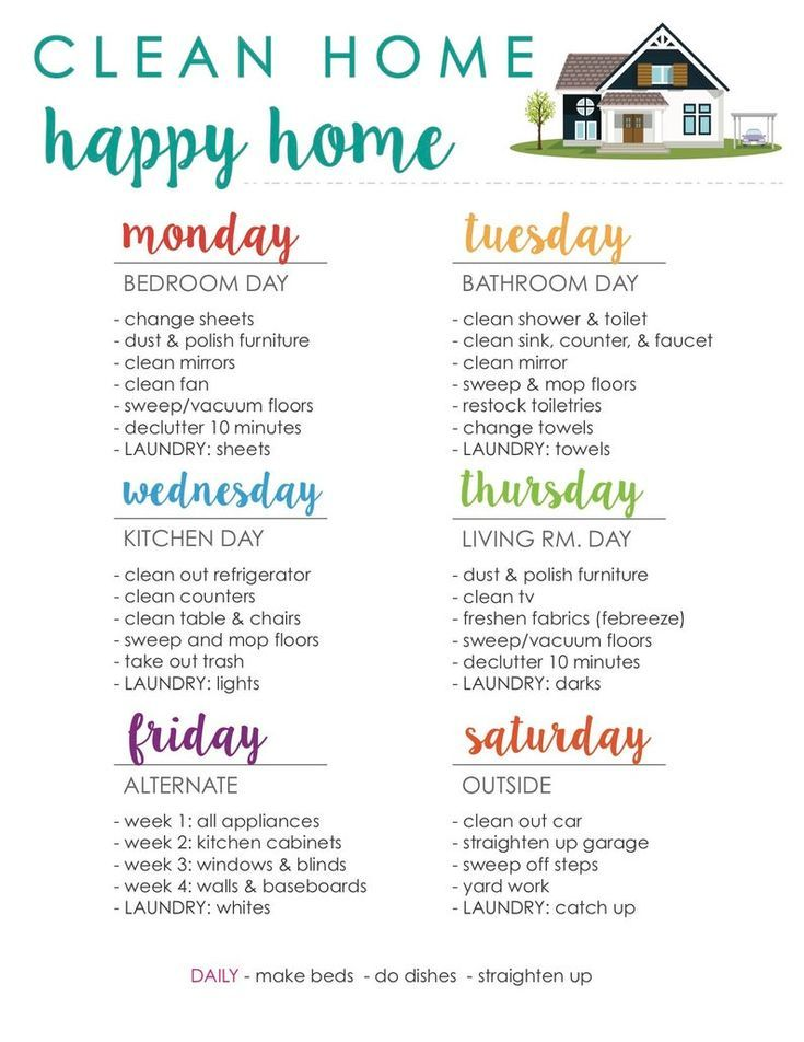 Clean Home Happy Home Cleaning Schedule - 1