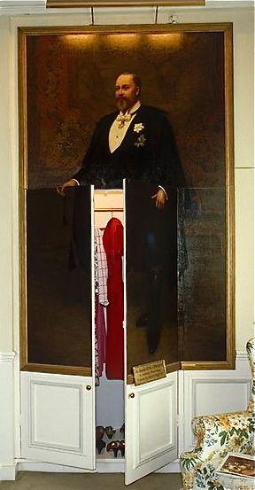 Portrait of King Edward VII/Jib Door disguising the wardrobe in the State Bedroom ~ Old Battersea House, London