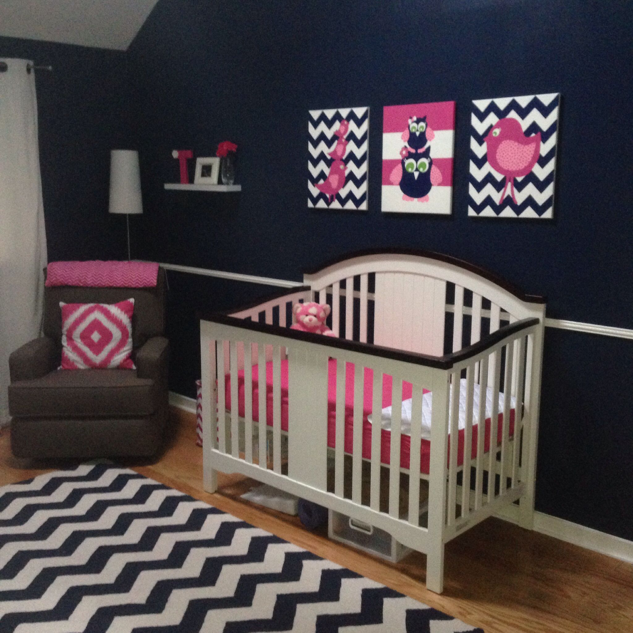 Navy White And Hot Pink Nursery