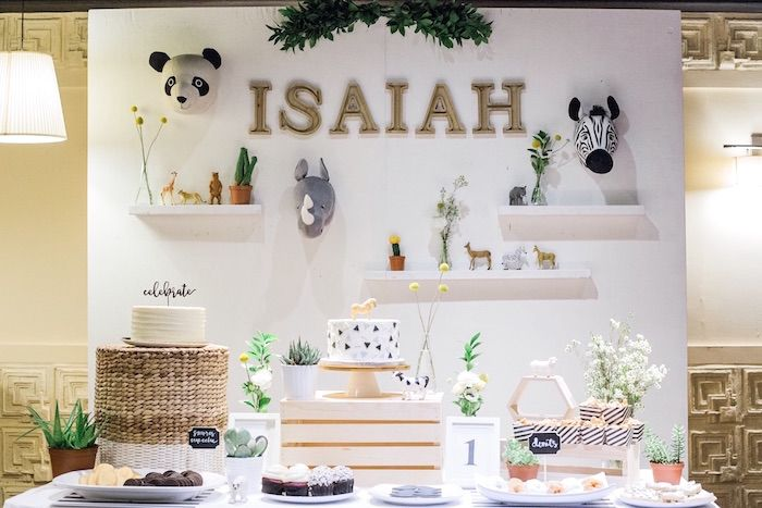 Love the Name backdrop behind the table, especially the font. Dessert table from a Modern Animal Birthday Party | KarasPartyIdeas.com (4)