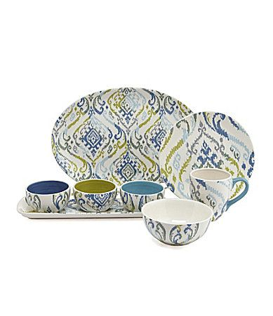 Noble Excellence Blue Ikat Accent Dinnerware - very Middle Eastern  sc 1 st  Pinterest & Noble Excellence Blue Ikat Accent Dinnerware #Dillards | Done and ...