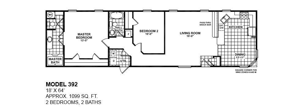 single wide mobile home floor plans 2 bedroom - 2 Bedroom Mobile Home Plans