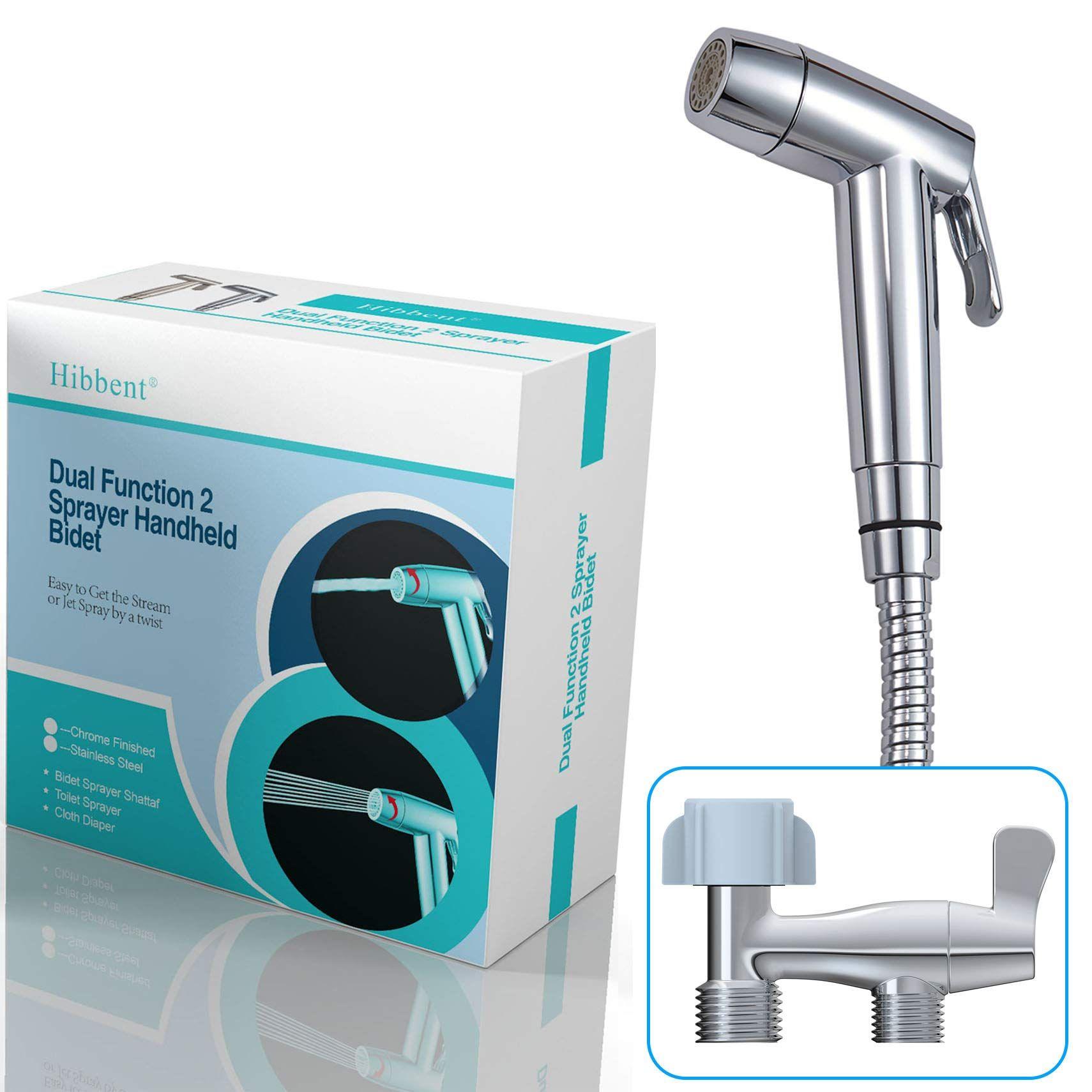 Hibbent Dual Function 2 Sprayer Stream Jet Hand Held Bidet Toilet Sprayer Shattaf Cloth Diaper Sprayer Kit Personal Hygiene Bidet Sprayer Bidet Toilet Bidet