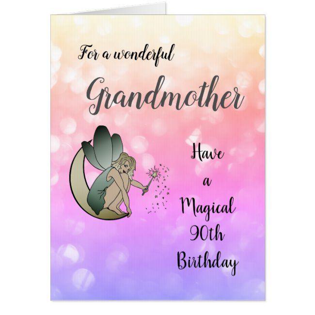 Large 90th Birthday Grandmother Fairy Design Card Zazzle Com 60th Birthday Cards Happy Birthday Daughter Birthday Cards