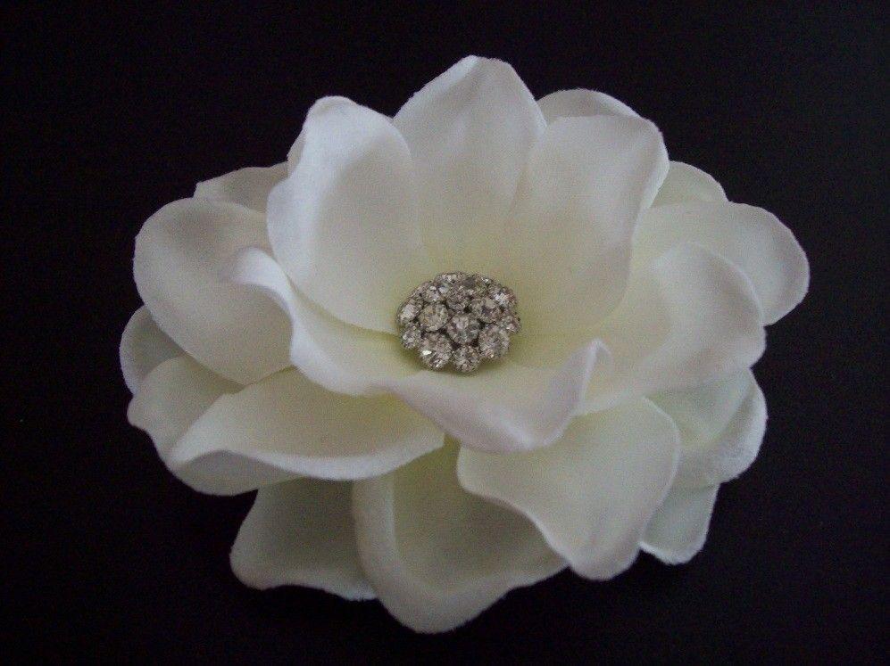 Shimmering Rhinestones Custom Made Gardenia Flower Bridal Hair Clip Wedding Headpiece Bridal Hair Flower Clip Bridal Hair Accessories Flowers In Hair
