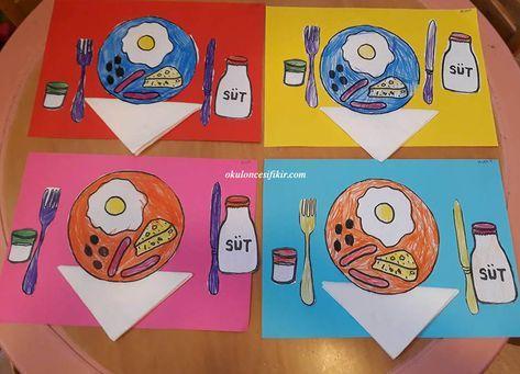 Okul öncesi Kahvaltı Tabağı Sanat Etkinliği öğrencilere Kahvaltı Ve