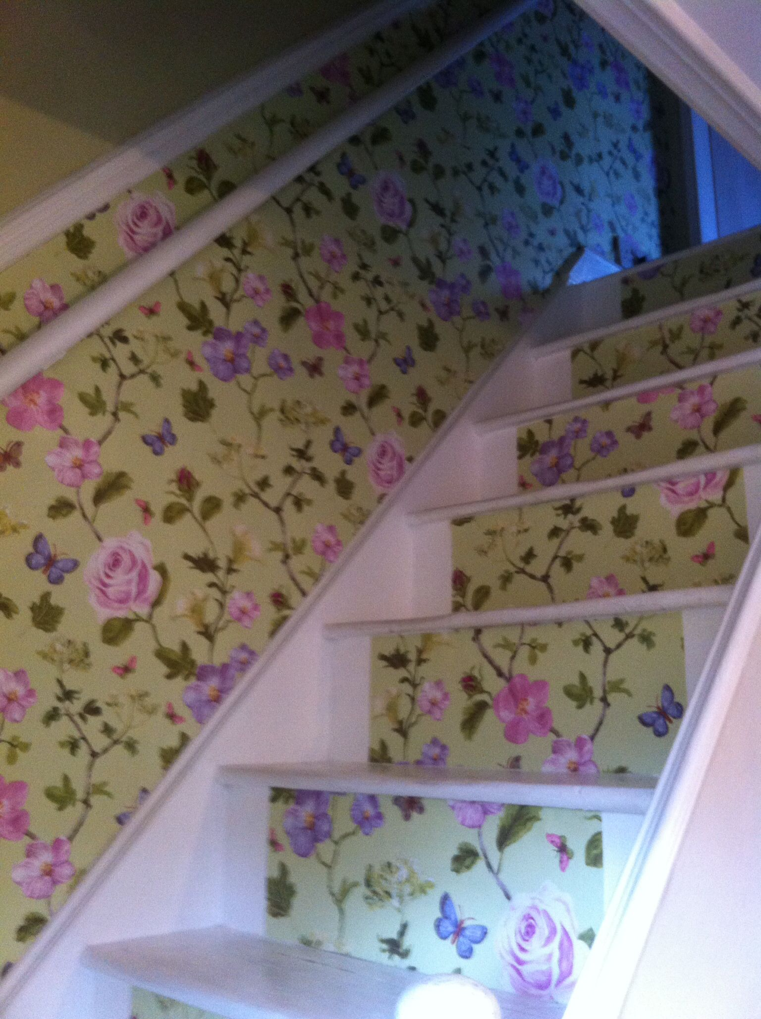 Hallway wallpaper dado rail  Eijffinger wallpaper used on stair risers and under dado rail to