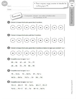 Ce1 Cycle2 Exercices Corriges Comparer Ranger Et Encadrer Les Nombres Jusqu A 99 Ce1 Revision Ce1 Exercice Ce1
