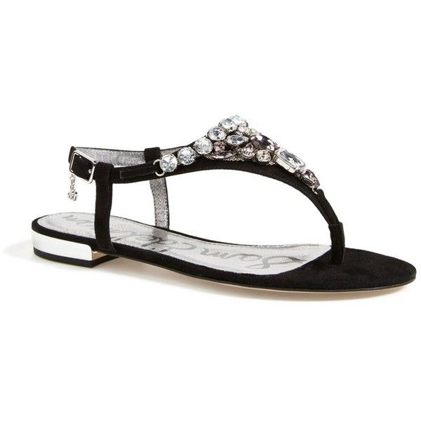 Sam Edelman 'Dayton' Embellished Sandal (Women) ($39) ❤ liked on Polyvore featuring shoes, sandals, black, black flat shoes, ankle strap sandals, black sandals, black flat sandals and embellished sandals