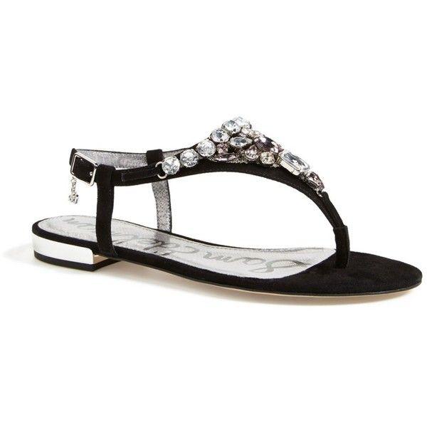Sam Edelman 'Dayton' Embellished Sandal (Women) ($39) ❤ liked on Polyvore featuring shoes, sandals, black, black flat shoes, ankle strap sandals, black sandals, black flat sandals and embellished sandals