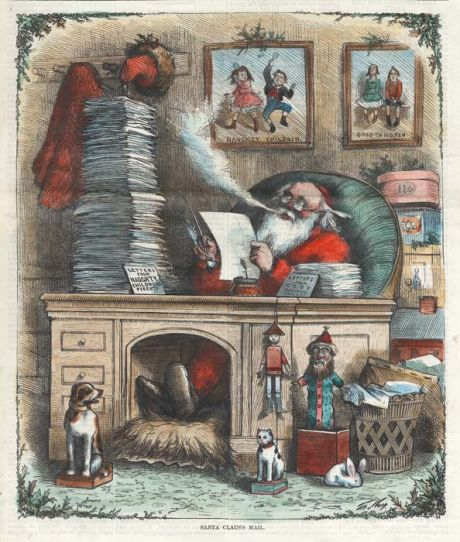 Santa Claus S Mail Thomas Nast 1871 Christmas Paintings Christmas Journal Antique Christmas