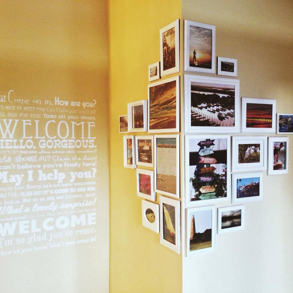 Photo wall - Love this - I am challenging myself to do it! Wouldn\'t ...