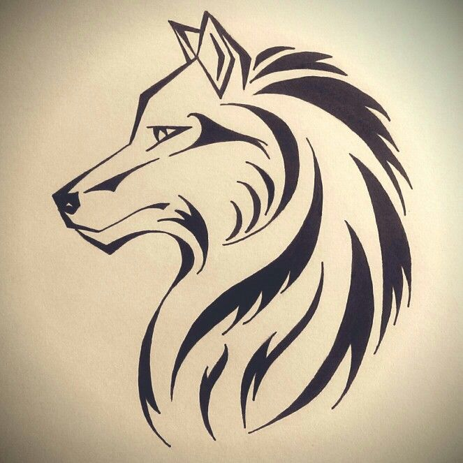 Photo of Wolf illustration. Tattoo design