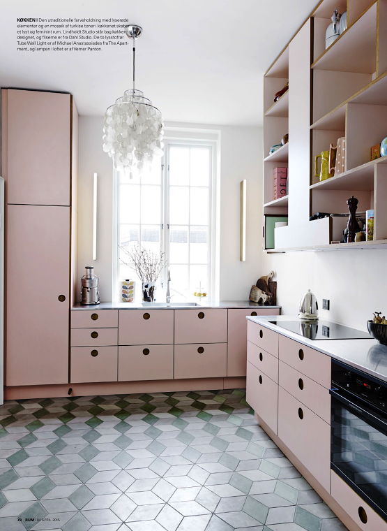 Pink Cabinets Cube Tiles Modern Vintage Feel For The Kitchen