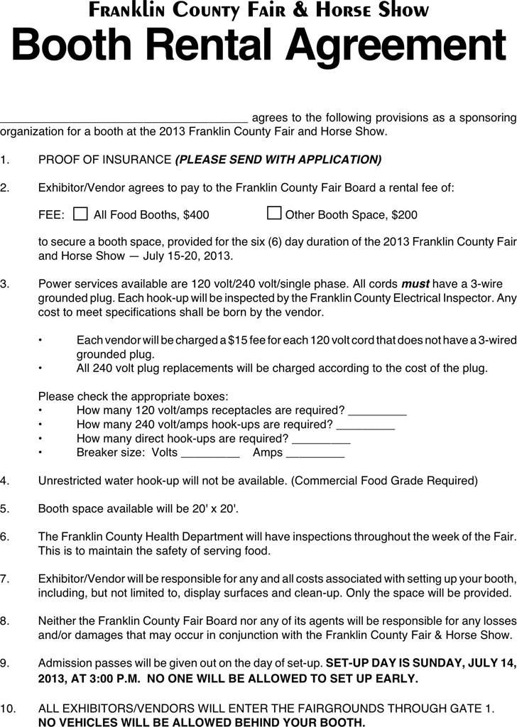 Booth Rental Agreement 2 Free Legal Forms Pinterest Salon