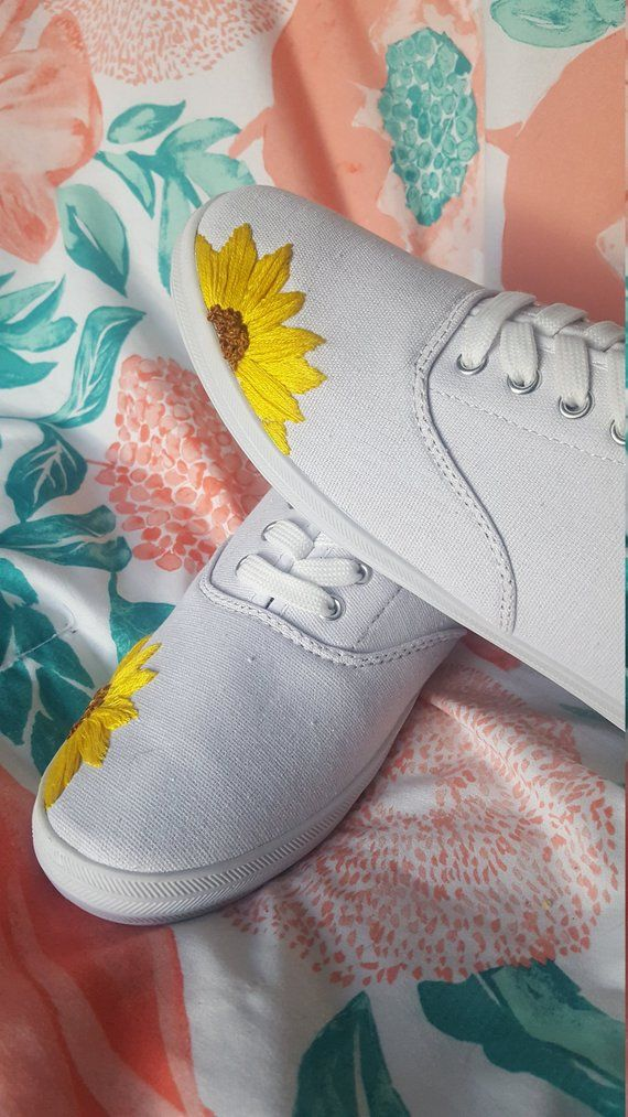 Hand Embroidered Shoes   Sunflower Shoes   Sunflower Embroidery   Modern Embroidery   Woman's Shoes   Woman's Embroidered Shoe is part of Embroidery shoes -                                                                I create all the pieces from start to finish with love (with help from my boyfriend & two cats)  Each piece takes me several hours to create, and thus they all have a special place in my heart  Thank you so much for taking the time to look at my shop, have a lovely day!