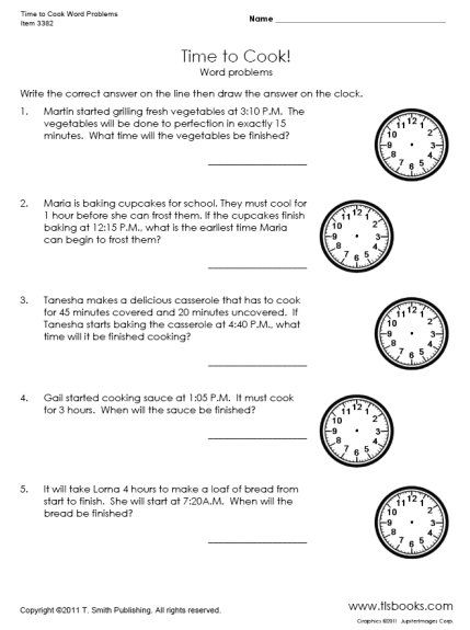 math worksheet : time to cook word problems worksheet  secondgrade  learning  : Elapsed Time Word Problems 3rd Grade