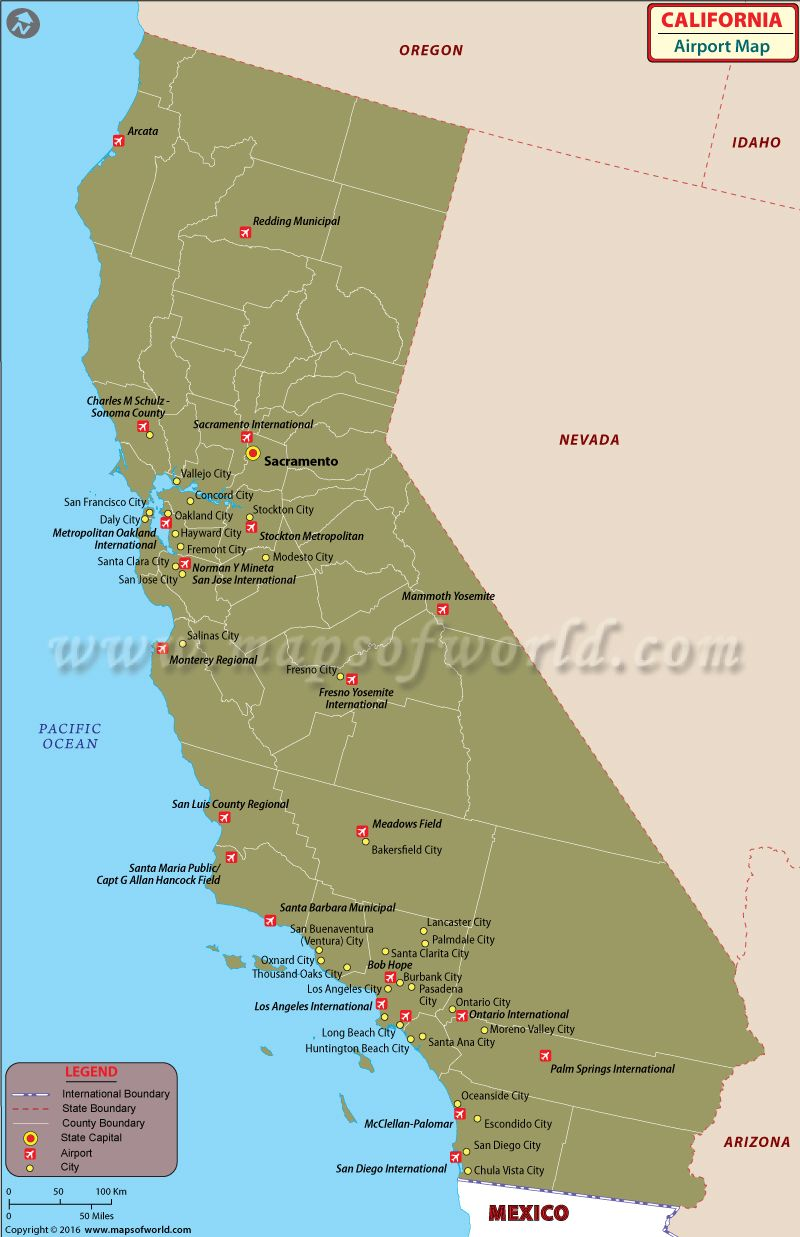 California Airports Map | California Maps in 2019 | Pinterest