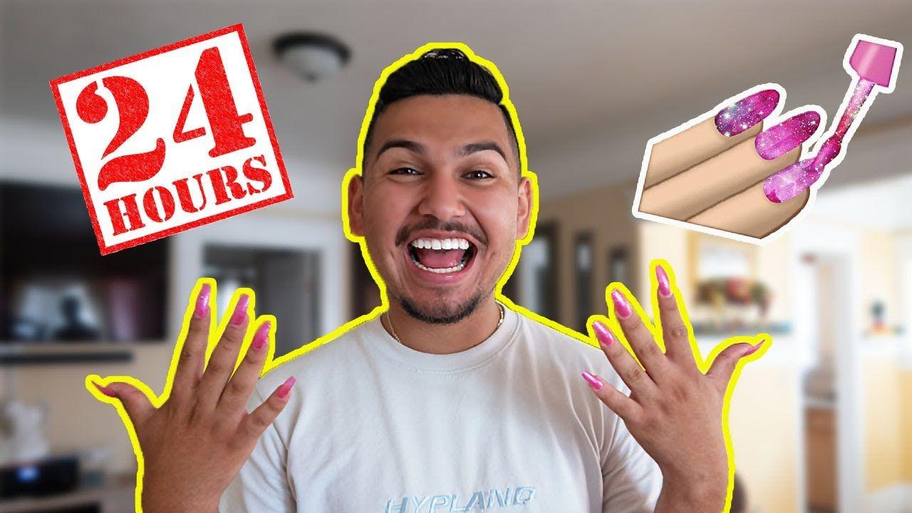 Boyfriend Wearing Long Acrylic Nails For 24 Hours Long Acrylic Nails Acrylic Nails Vlogging Camera