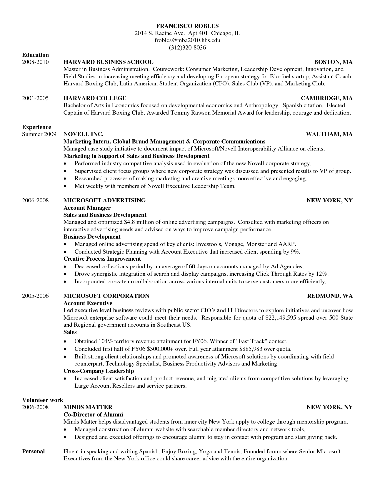 Doc 618800 Harvard Business School Resume Template Sample For Mba Admission Interview