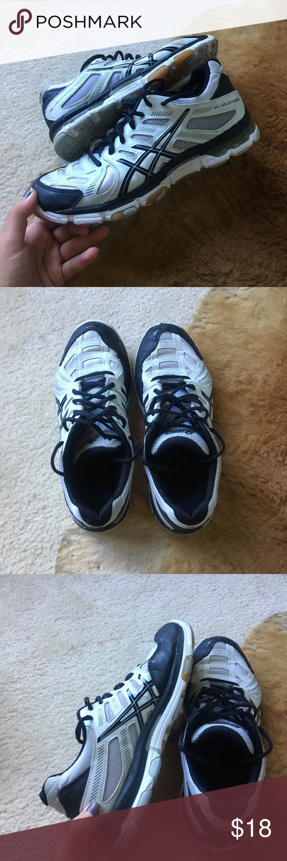 Black White Asics Gel Volleycross Volleyball Shoes Asics Volley Cross Volleyball Shoes Used Condition With Some Scuffin Volleyball Shoes Asics Black And White