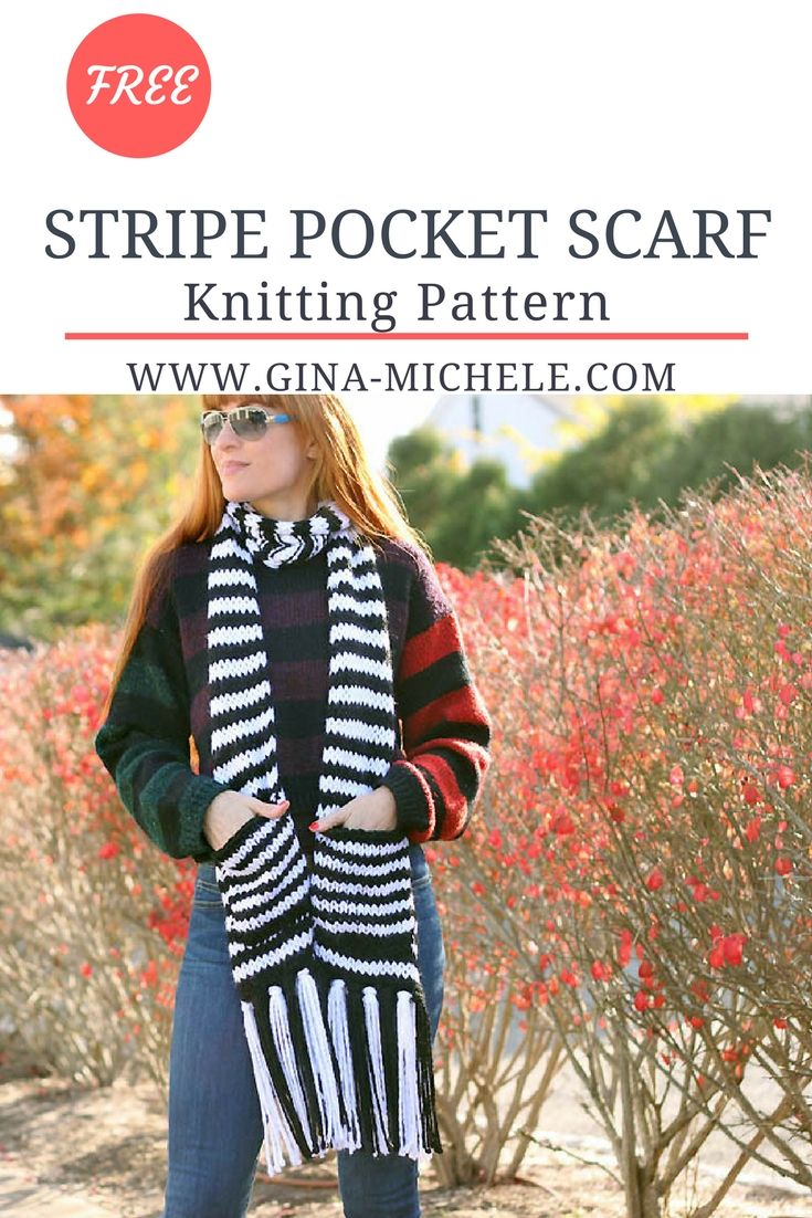 FREE knitting pattern for this Stripe Pocket Scarf   Blogger ...
