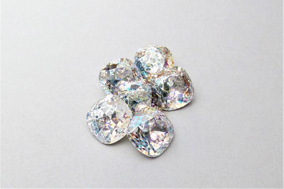 4 Mahogany Swarovski Crystal Square Cushion Cut Stone Folied 4470 12MM