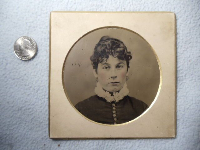 "ANTIQUE TINTYPE GIRL WITH ROSE TINTED CHEEKS 5"" BY 5"" CIRCA 1880 
