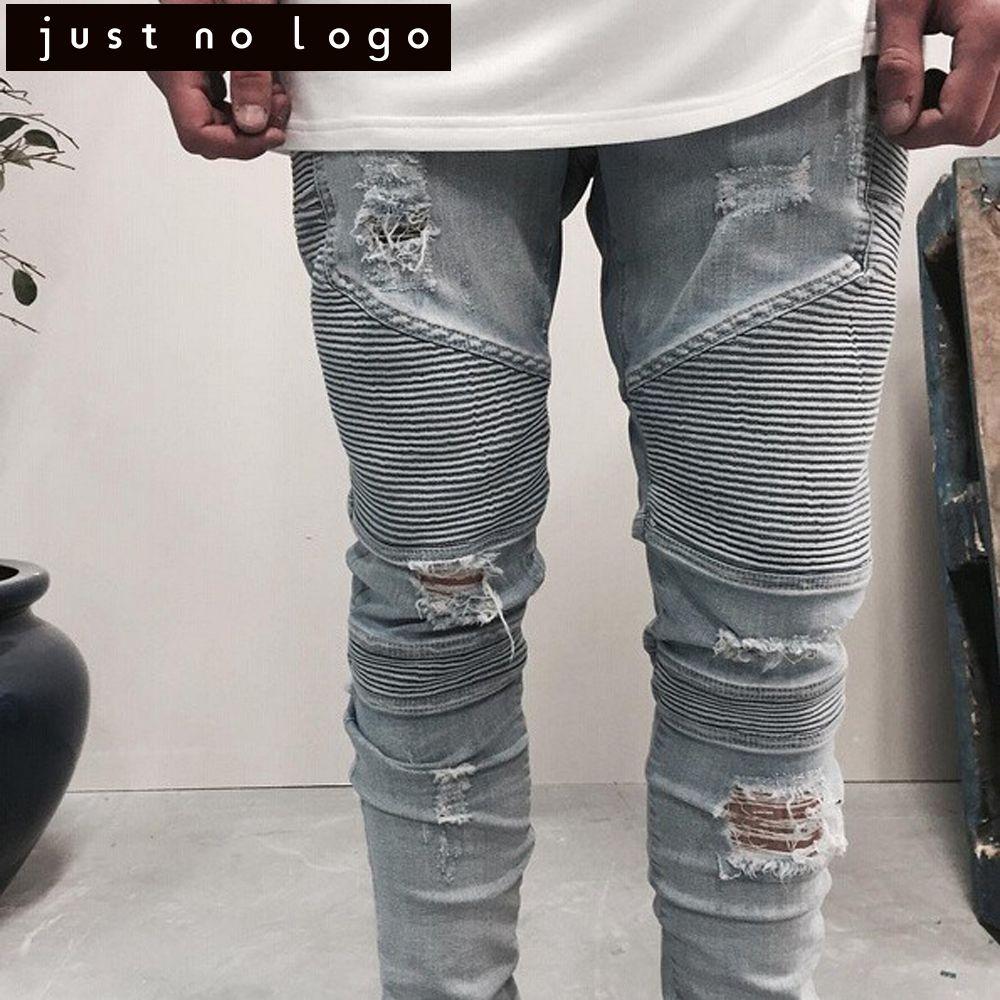 Men Tapered Stretch Denim Ripped Jeans Destroyed Damaged Biker Slim Fit  Skinny Straight Pants Blue Long