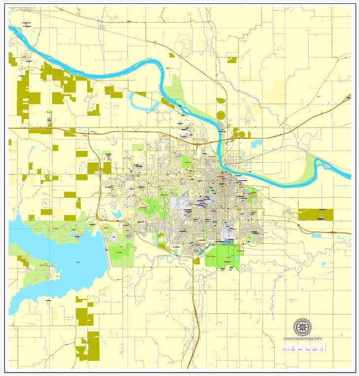 Lawrence Printable Map Kansas US Printable Vector Street City - Kansas us map