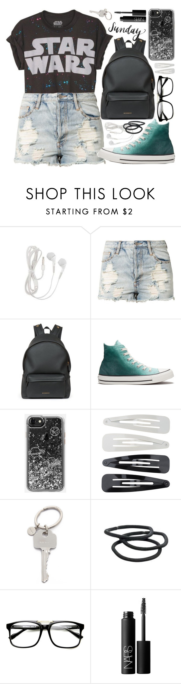 """""""""""I bet you could sometimes find all the mysteries of the universe in someone's hand."""""""" by alexandra-provenzano ❤ liked on Polyvore featuring Evil Twin, Givenchy, Converse, Forever 21, Paul Smith, Goody and NARS Cosmetics"""