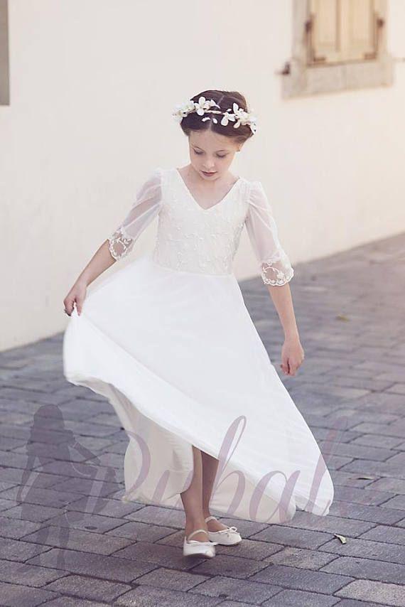 Boho Blumenmädchenkleid, erste Kommunion Kleid, Junior ...