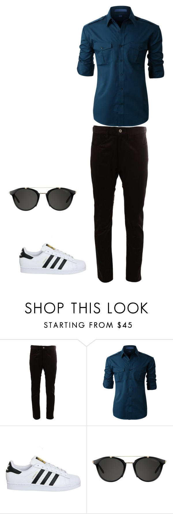 """""""Something Different: Cute but Simple"""" by lizyg1572 ❤ liked on Polyvore featuring Junya Watanabe Comme des Garçons, LE3NO, adidas, Carrera, men's fashion and menswear"""