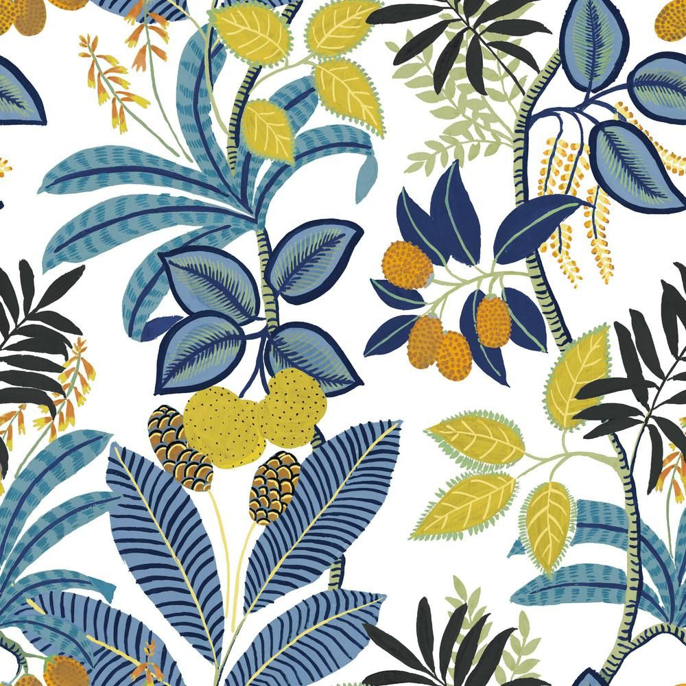 Roommates 28 29 Sq Ft Funky Jungle Peel And Stick Wallpaper Blue Yellow Peel And Stick Wallpaper Wallpaper Roll Wallpaper