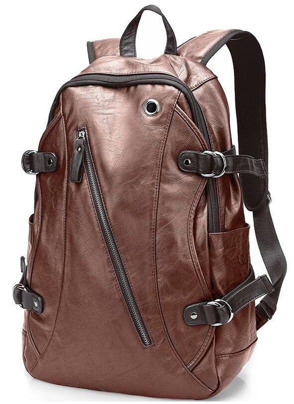 Men Women/'S Student Backpacks Pu Leather Rucksack School Travel Bag