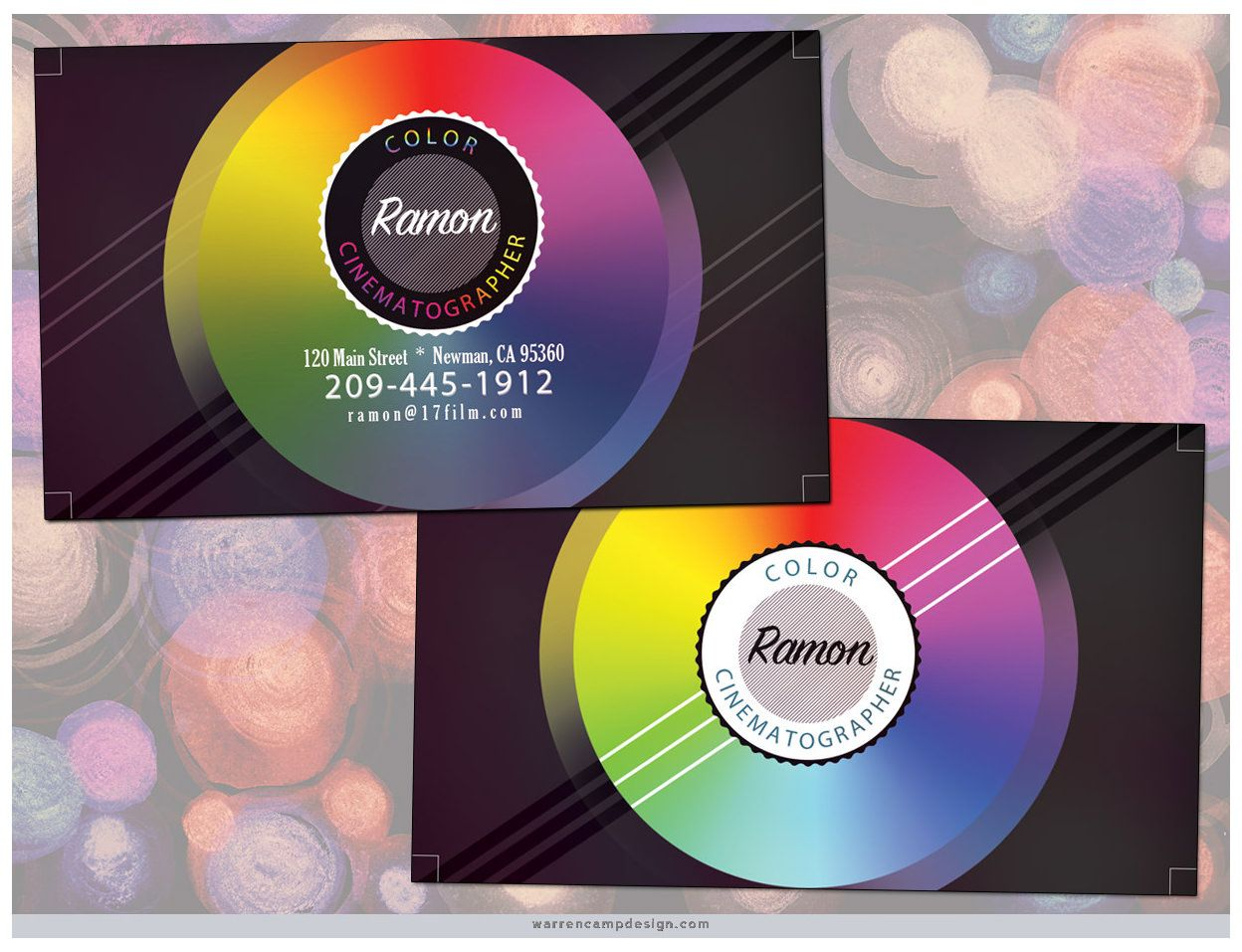 Color cinematographer on custom backgrounds warren created color cinematographer on custom backgrounds warren created multidimensional color disks cds for both sides of this custom business card reheart Images