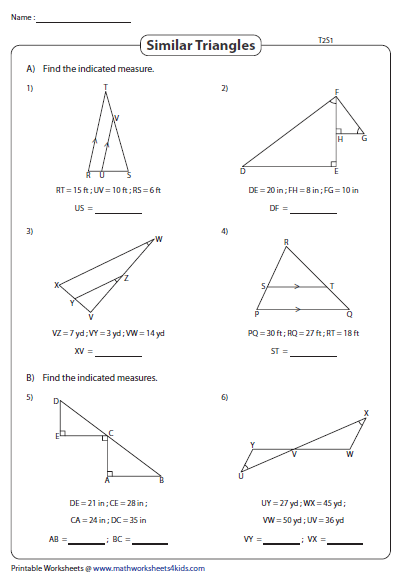 Similar Triangles Find The Sides Type 2 Similar Triangles Triangle Worksheet Maths Activities Middle School