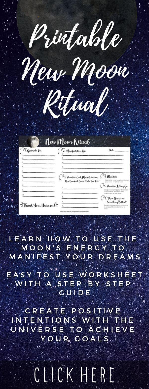 Printable New Moon Ritual • Law of Attraction Moon Planner • Moon Magic • Moon Manifesting • Lunar C