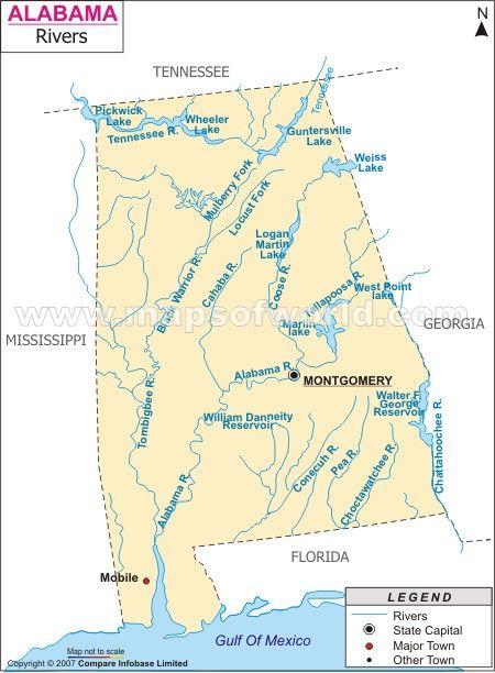 River Map of Alabama | United States of Mind | Pinterest | Map ...