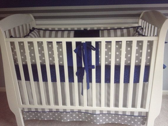 Modern Boy Crib Bedding Set Navy Blue And Gray
